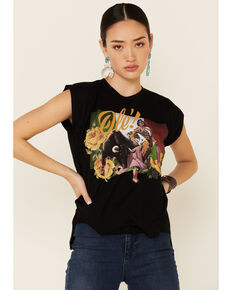 Rodeo Quincy Women's Mexicana Ole Flag Graphic Short Sleeve Tee , Black, hi-res