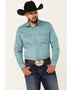 Wrangler Retro Premium Men's Solid Turquoise Long Sleeve Snap Western Shirt, Blue, hi-res