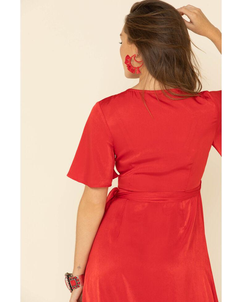 Flying Tomato Women's Ruffle Wrap Dress, Red, hi-res