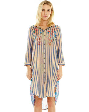 Aratta Women's Beatriz Shirt Tunic, Cream/blue, hi-res
