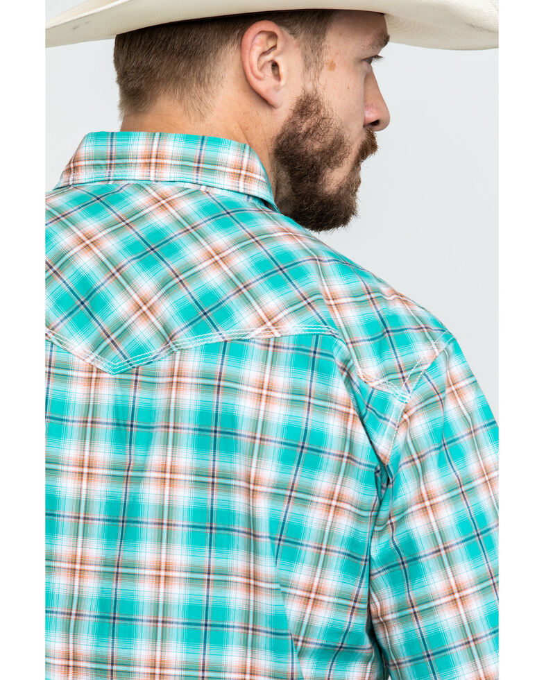 Wrangler 20X Men's Competition Advanced Comfort Plaid Short Sleeve Western Shirt , Turquoise, hi-res