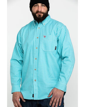 Ariat Men's FR Brent Check Plaid Long Sleeve Work Shirt , Blue, hi-res
