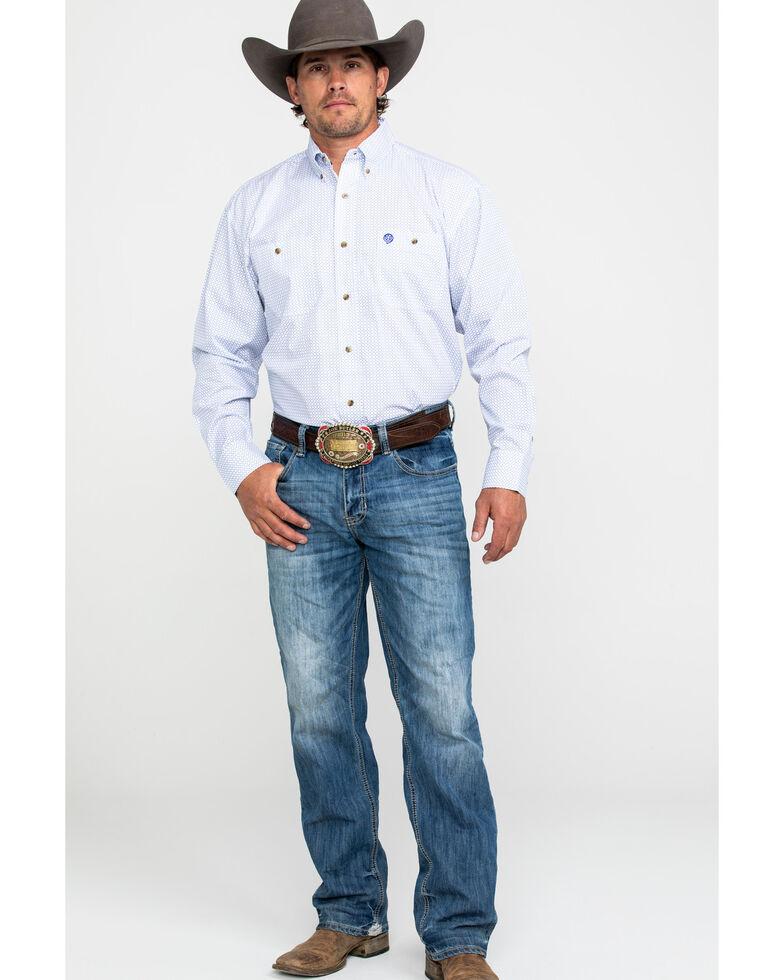 George Strait by Wrangler Men's White Geo Print Long Sleeve Western Shirt , White, hi-res
