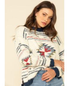 Wrangler Retro Women's Ivory Aztec Print Eyelash Sweater, Ivory, hi-res