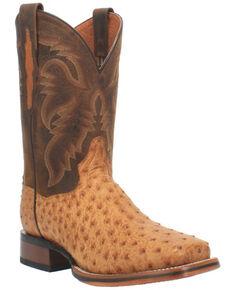 Dan Post Men's Kershaw Exotic Ostrich Skin Western Boots - Wide Square Toe, Tan, hi-res