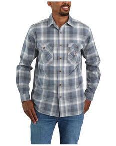 Carhartt Men's Bluestone Midweight Plaid Long Sleeve Button-Down Work Shirt Jacket , Blue, hi-res