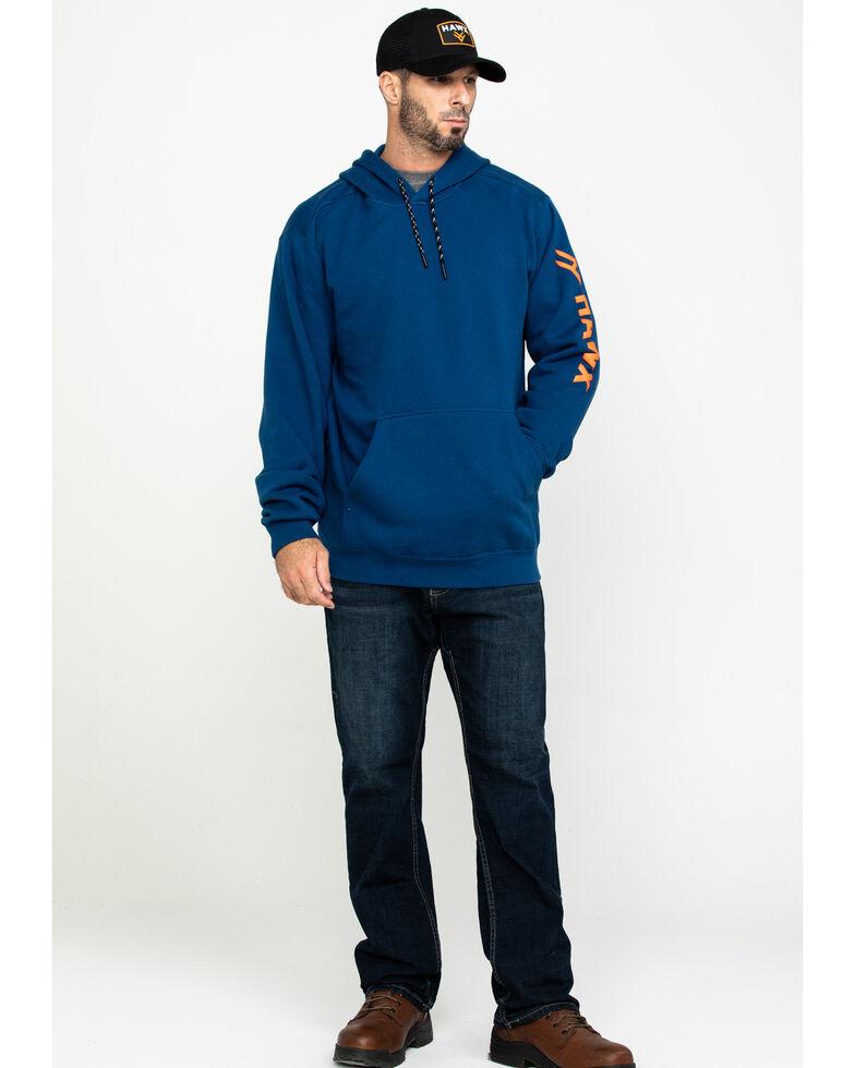 Hawx Men's Blue Logo Sleeve Performance Fleece Hooded Work Sweatshirt - Tall , Blue, hi-res