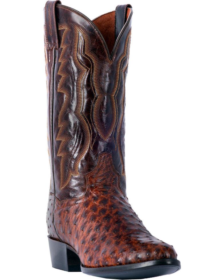 Dan Post Men's Pershing Brass Full Quill Ostrich Cowboy Boots - Medium Toe, Brown, hi-res