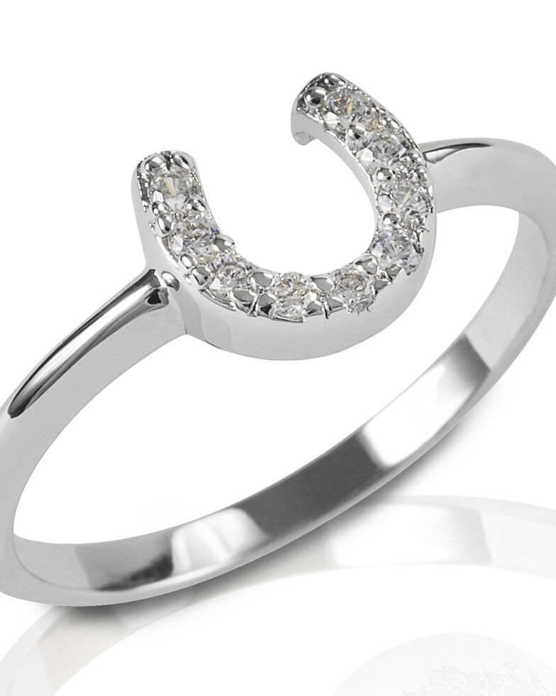 Kelly Herd Women's Clear Horseshoe Ring, Silver, hi-res