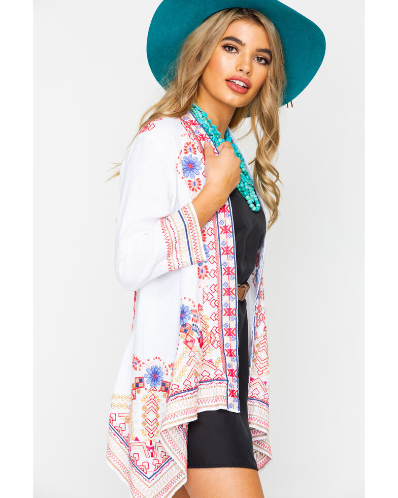 Johnny Was Women's Fredrique Draped Cardigan  , White, hi-res