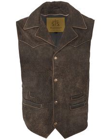 STS Ranchwear Men's Old American Ranch Leather Gambler Vest , Brown, hi-res