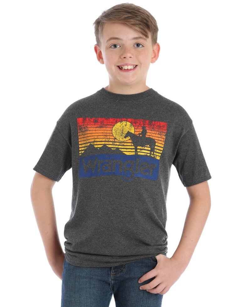 Wrangler Boys' Heather Sunset Graphic T-Shirt , Grey, hi-res