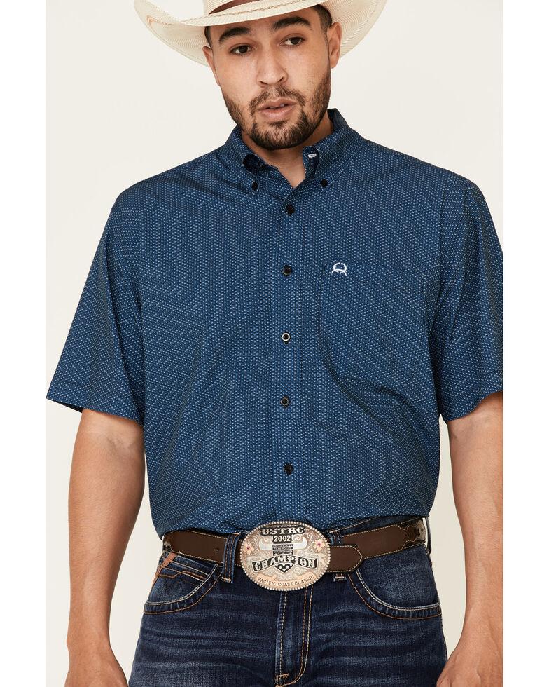 Cinch Men's Arena Flex Blue Small Geo Print Short Sleeve Western Shirt, Blue, hi-res