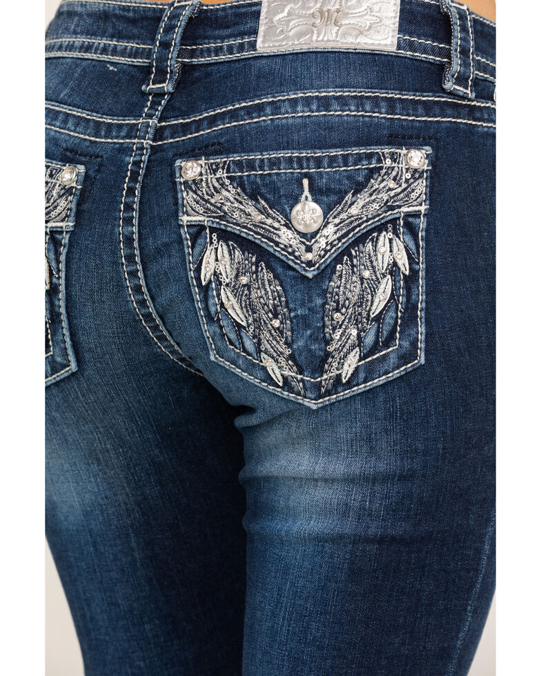 Miss Me Women's Feather Angel Wing Hailey Skinny Jeans, Blue, hi-res