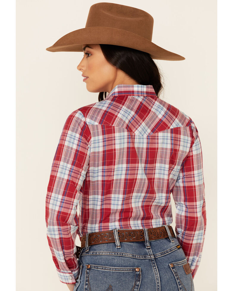 Roper Women's Red Plaid Long Sleeve Snap Western Core Shirt , Red, hi-res