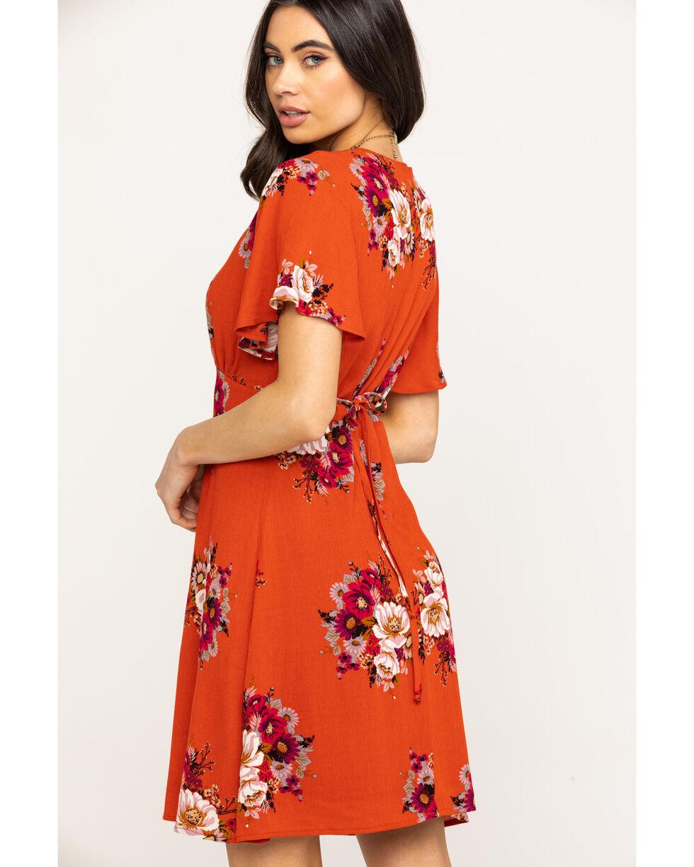 Jody of California Women's Floral Surplice Short Sleeve Dress, Rust Copper, hi-res
