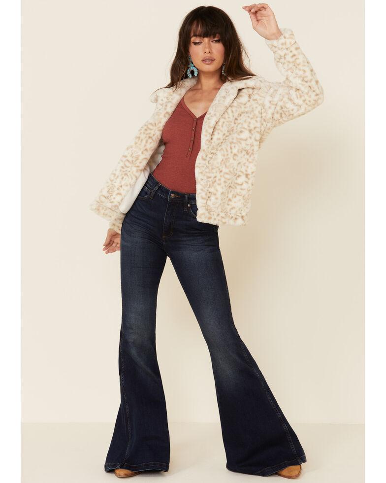 Z Supply Women's Bone Leopard Print Faux Fur Jacket , Cream, hi-res