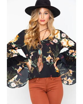 Moa Moa Women's Floral Layered Ruffle Bell Long Sleeve Top, Black, hi-res
