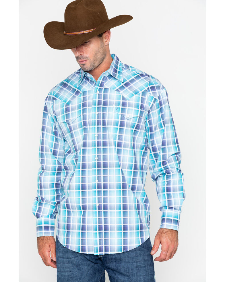 Stetson Men's Blue Medium Plaid Snap Long Sleeve Western Shirt , Blue, hi-res