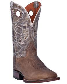 Dan Post Men's Brown Bone Crackle Western Boots - Wide Square Toe , Brown, hi-res