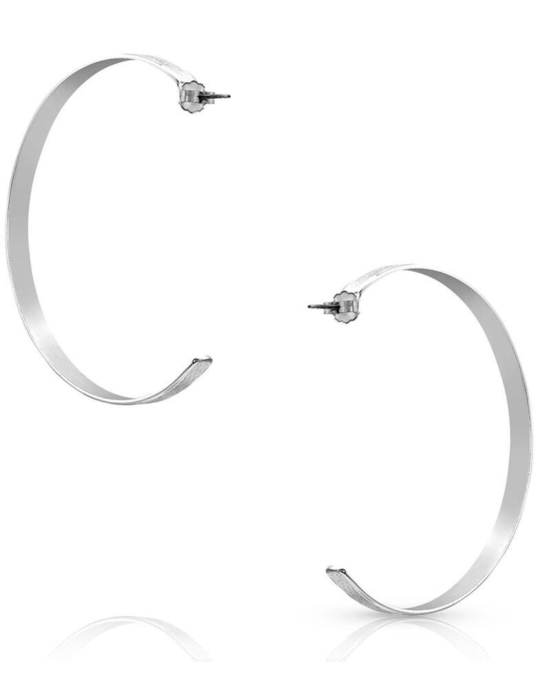 Montana Silversmiths Women's Silver Moon Large Hoop Earrings, Silver, hi-res