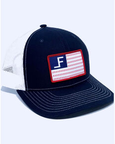 Lane Frost Men's Freedom Flag Patch Mesh Ball Cap , Navy, hi-res