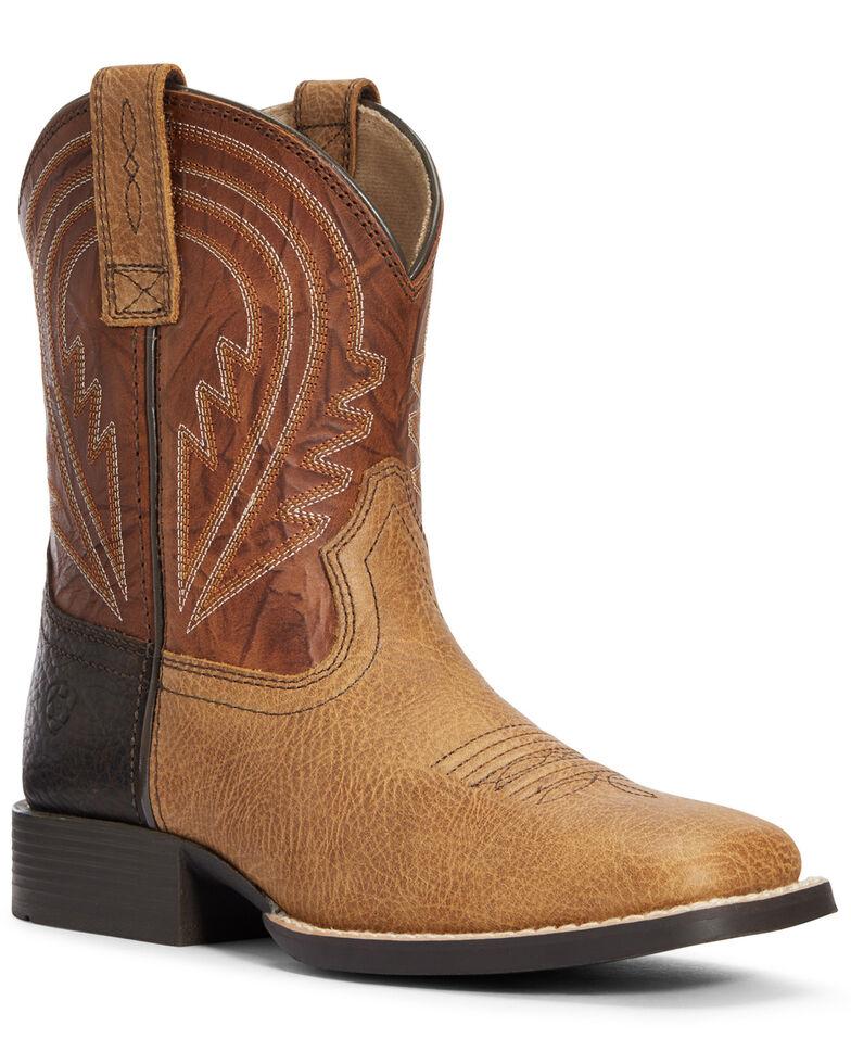 Ariat Boys' Lil Hoss Western Boots - Square Toe, Tan, hi-res
