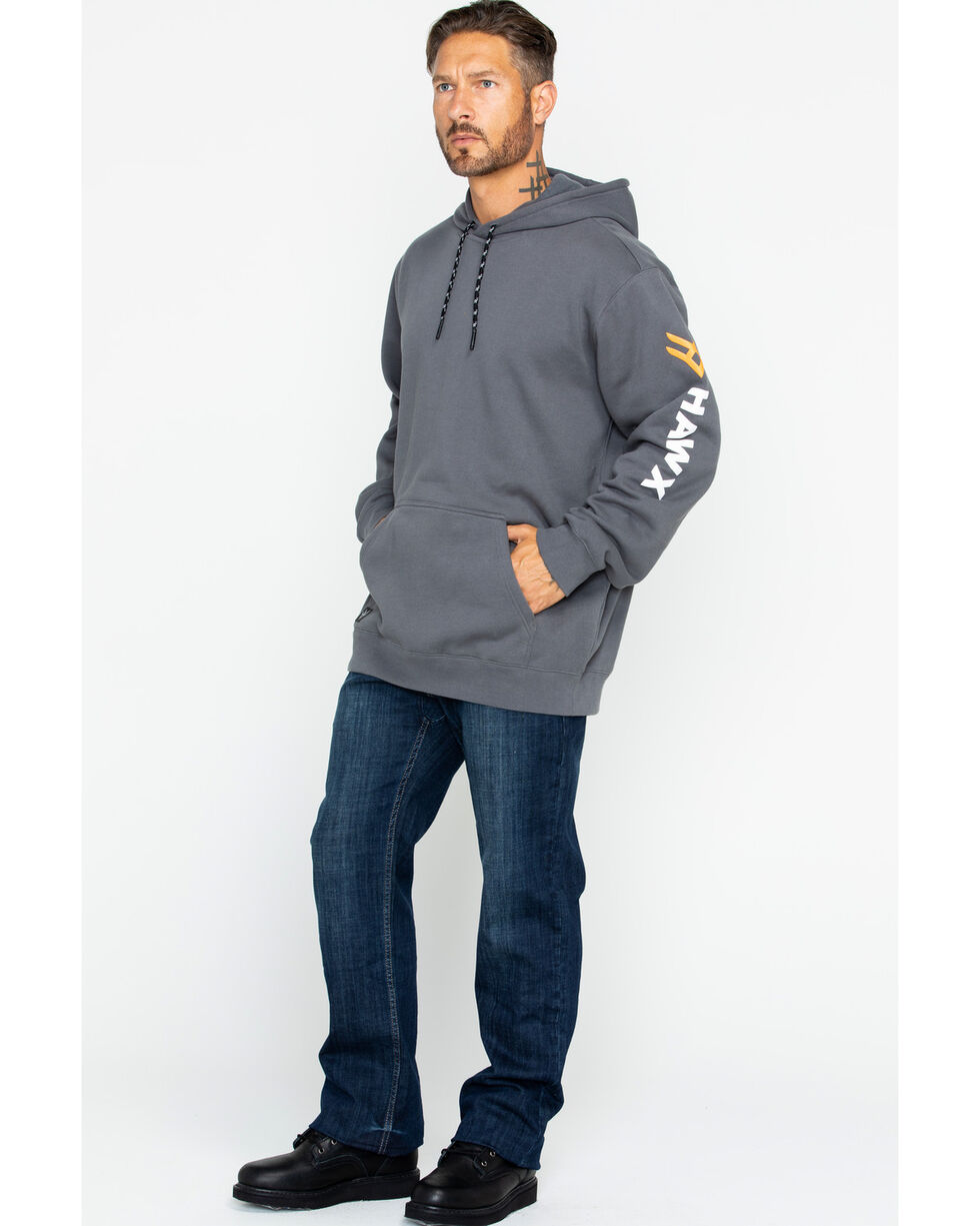 Hawx® Men's Logo Sleeve Pullover Work Hoodie , Charcoal, hi-res