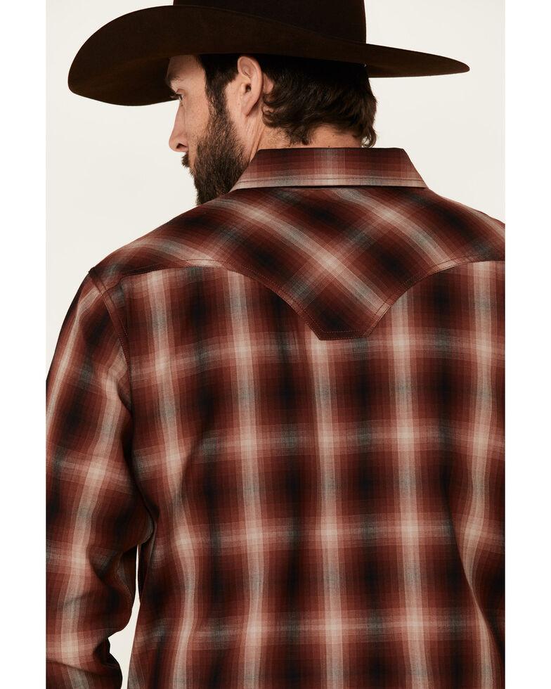 Moonshine Spirit Men's Gatlinburg Med Plaid Long Sleeve Snap Western Shirt , Burgundy, hi-res