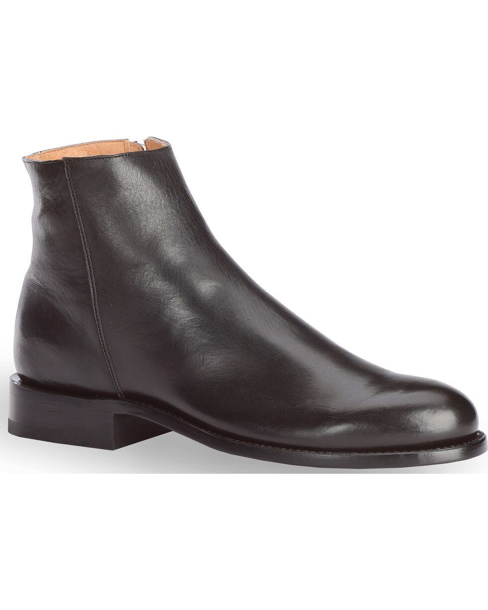 El Dorado Men's Handmade Smooth Leather Zipper Urban Roper Boots - Round Toe, Black, hi-res