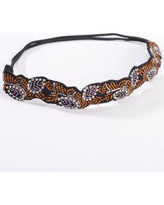 Shyanne Women's Beaded Leaf Elastic Back Headband, Black, hi-res