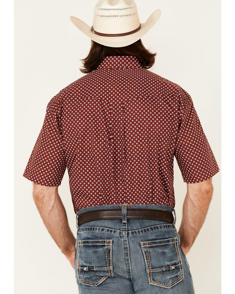 Roper Men's American Blues Red Diamond Geo Print Short Sleeve Button-Down Western Shirt , Red, hi-res