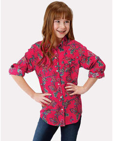 Roper Girls' Filigree Long Sleeve Shirt, Red, hi-res