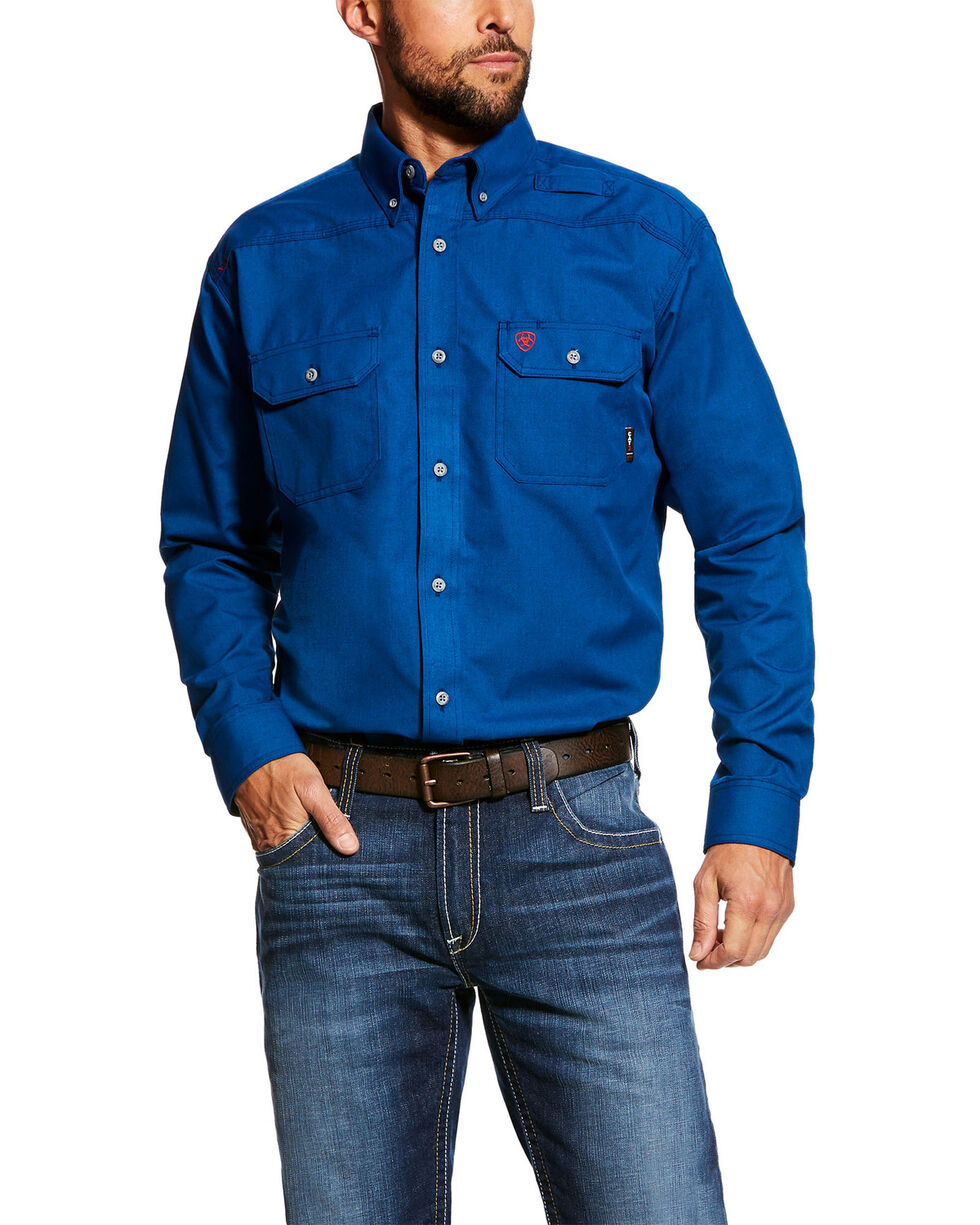 Ariat Men's FR Featherlight Long Sleeve Work Shirt - Tall , Blue, hi-res