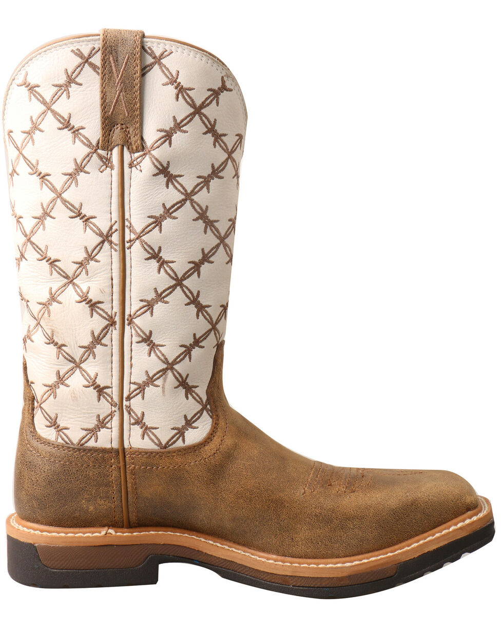 Twisted X Women's Lite Cowboy Western Work Boots - Square Toe, Brown, hi-res