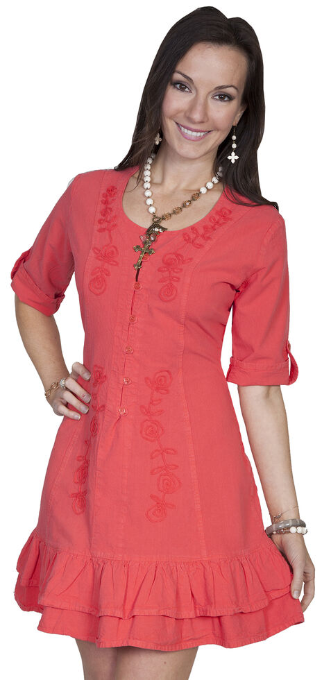 Scully Sweetheart Lace Up Back Dress, Cayenne, hi-res