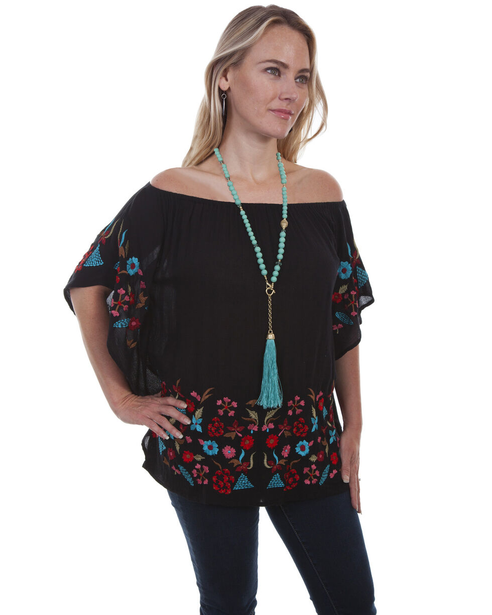 Honey Creek by Scully Women's Embroidered Cold Shoulder Blouse  , Black, hi-res