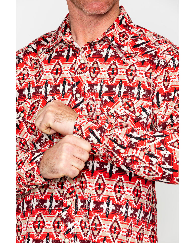 Rock & Roll Cowboy Men's Distressed Aztec Print Long Sleeve Western Shirt , Red, hi-res