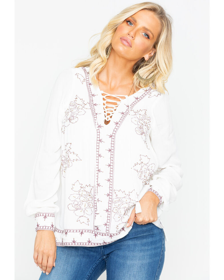 Idyllwind Women's Homegrown Lace Up Tunic Top, Ivory, hi-res
