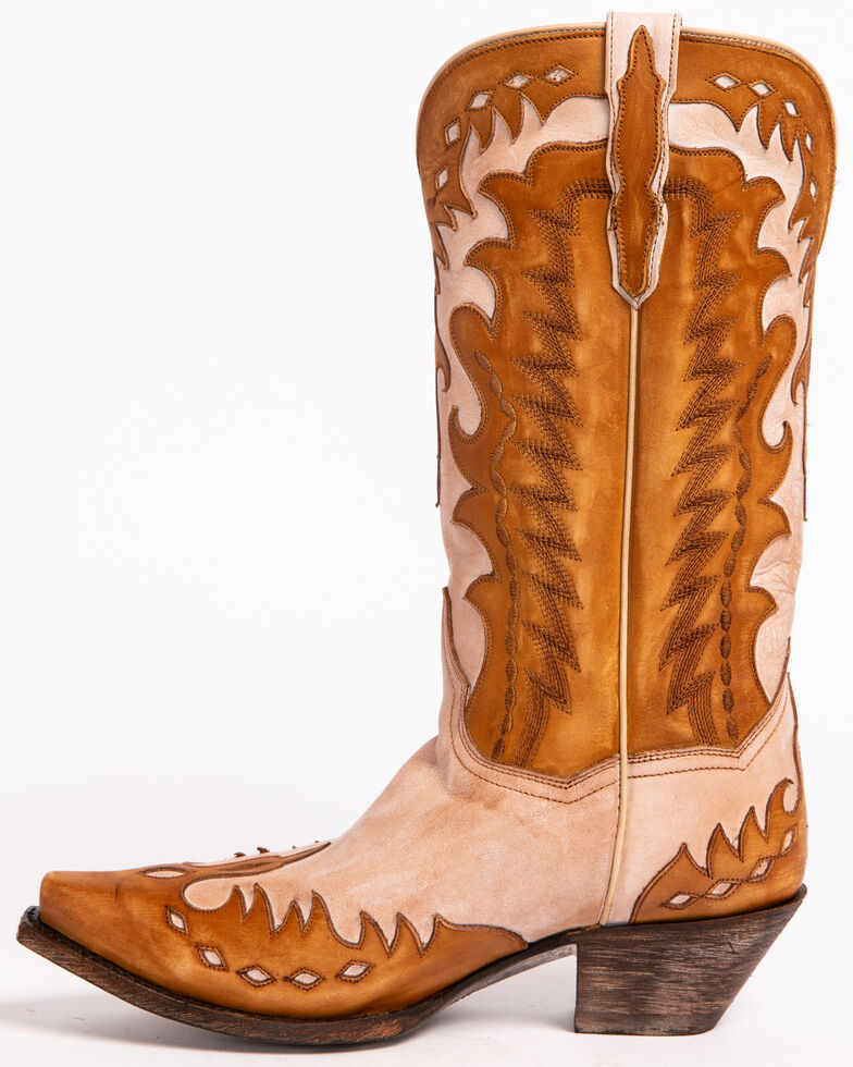 Dan Post Women's Bone Mae Wingtip Cowgirl Boots - Snip Toe, Tan, hi-res