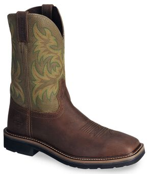Justin Men's Stampede Driller Brown Work Boots - Soft Toe, Waxed Brn, hi-res