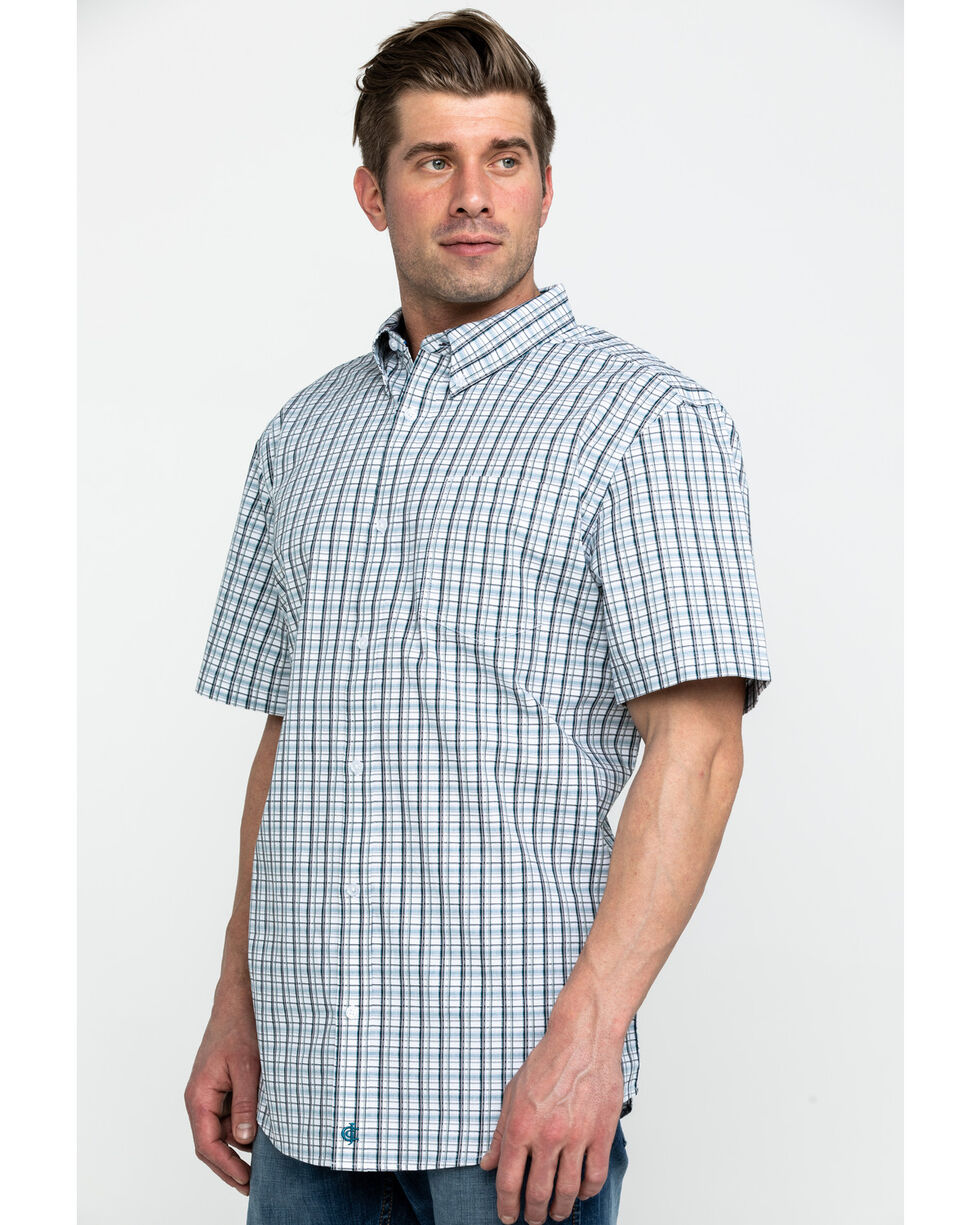 Cody James Core Men's Chainlink Plaid Short Sleeve Western Shirt , White, hi-res