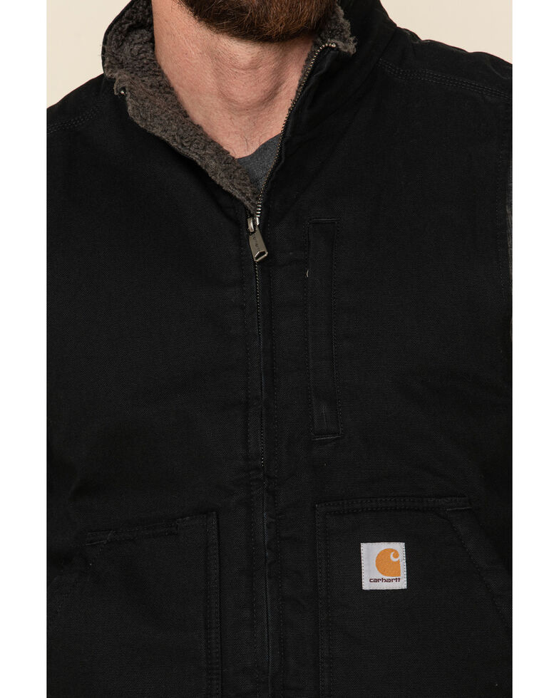 Carhartt Men's Black Washed Duck Sherpa Lined Mock Neck Work Vest , Black, hi-res