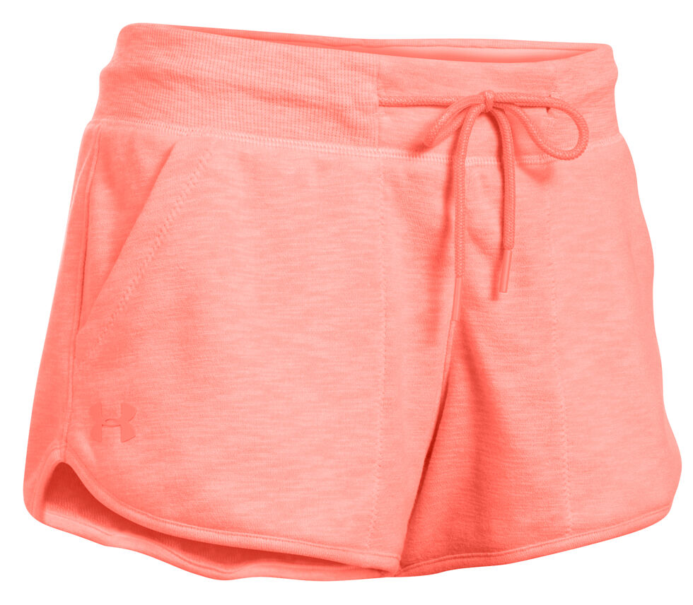 Under Armour Women's Orange Ocean Shoreline Terry Shorts, Orange, hi-res