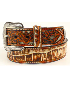 Nocona Men's Genuine Leather Croc Print Belt, Tan, hi-res