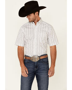 Panhandle Men's Blue & White Geo Print Performance Short Sleeve Button-Down Western Shirt , Blue, hi-res