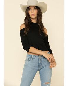 Rock & Roll Cowgirl Women's Black Cold Shoulder Crop Top, Black, hi-res