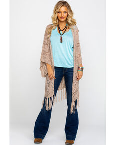 Rock & Roll Cowgirl Women's Open Front Fringe Cardigan , Natural, hi-res
