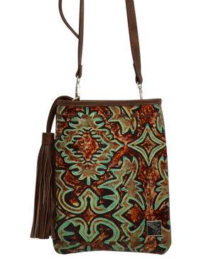 Angel Ranch Women's Filigree Pattern Crossbody Purse, Brown, hi-res