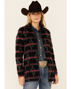Powder River Outfitters Women's Red & Black Aztec Print Performance 1/4 Zip Pullover , Black, hi-res